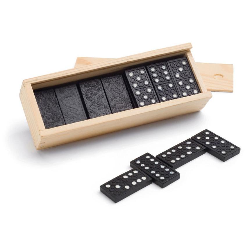 Domino spel 112x stuks steentjes in houten kistje