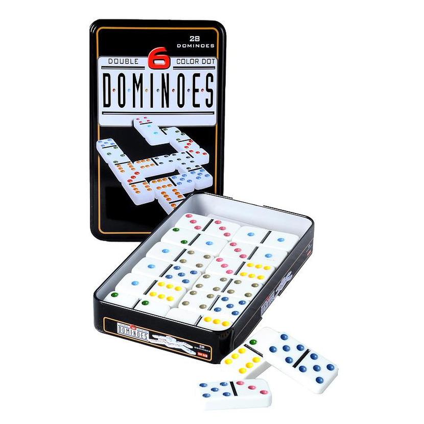 Domino spel dubbel/double 6 in blik en 28x gekleurde stenen