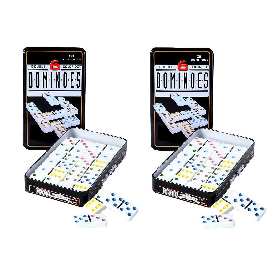 Domino spel dubbel double 6 in blik en 56x gekleurde stenen