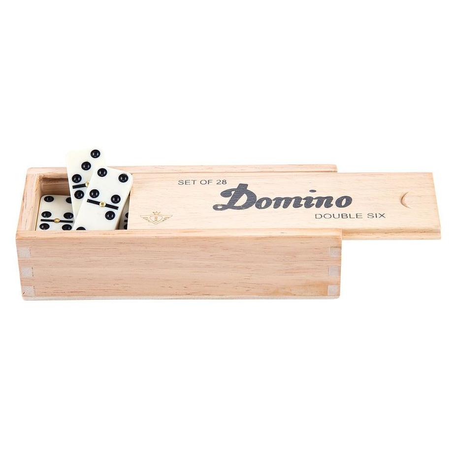 Domino spel dubbel double 6 in houten doos en 28x gekleurde stenen
