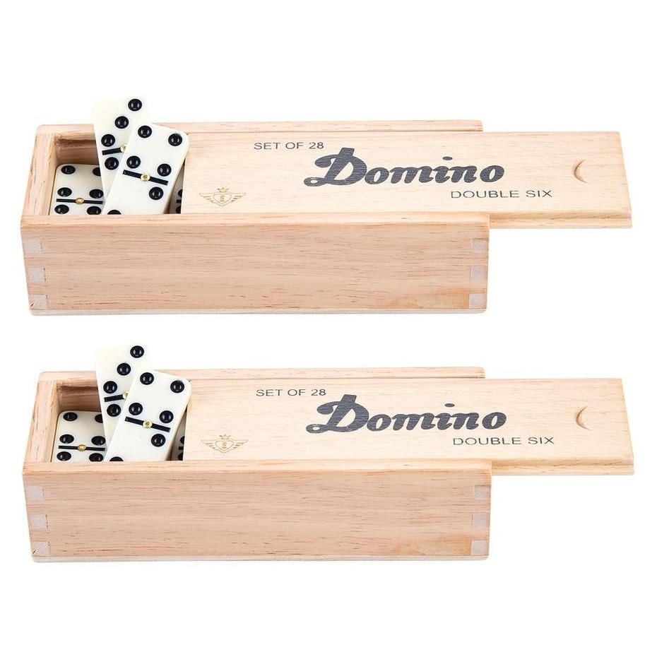 Domino spel dubbel double 6 in houten doos en 84x gekleurde stenen