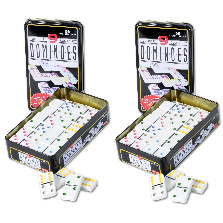 Domino spel dubbel double 9 in blik en 110x gekleurde stenen