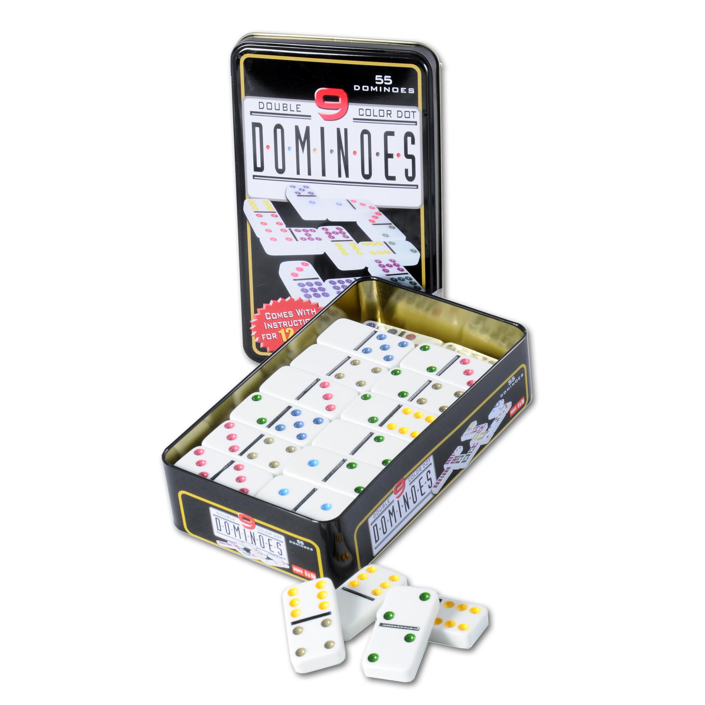Domino spel dubbel double 9 in blik en 55x gekleurde stenen